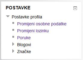 Postavke profila