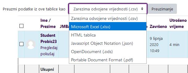 Izvoz podataka Test - Excel format