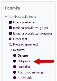 Odabir izvoza odgovora na testu