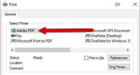 Test - odabir PDF pisača